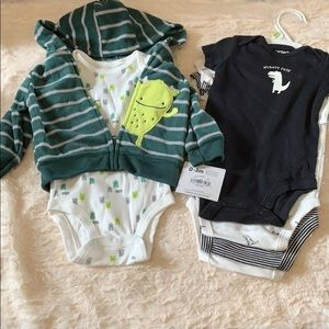 Dinosaur and monster baby outfits